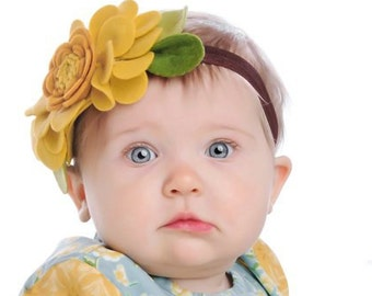 Baby Headband. Newborn Headband. Infant Headband. Crown Flower Headband. Yellow Mustard Seed. Felt baby headband. Baby girl headband. Bebe