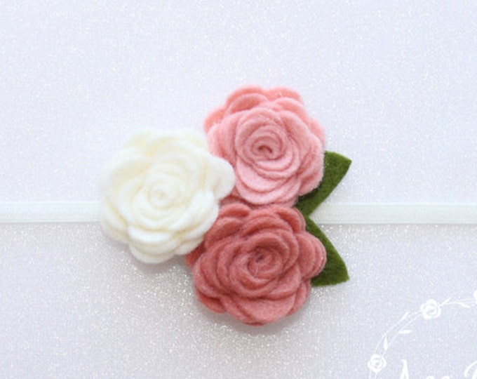 Grapefruit Pink.  Baby Headband, Rose Headbands, Headbands, Felt  Flower Headbands, Rose Flower Headbands, Flower Headbands, Flower,Headband