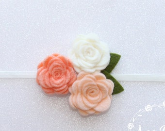 Peach Baby Headband, Rose Headbands, Headbands, Felt  Flower Headbands, Rose Flower Headbands, Flower Headbands, Blush Flower,Headband