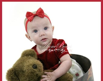 Baby Headband, Satin Red Baby Headbands, Red Baby Head wraps, Baby Hair Accessories, Newborn Headband, Hair Bow Handmade