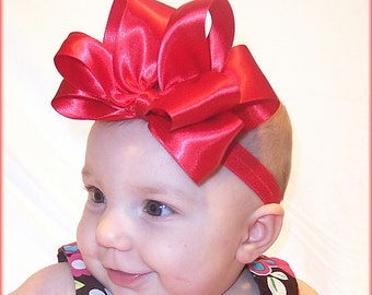Baby Headband, Satin Red Headbands, Big Bow Headband, Headband, Bow, Baby Girl