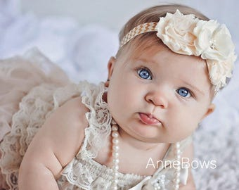 Coral Headband. Shabby Chiffon Flower. Chiffon Flower. Infant Headband. Baby Headband