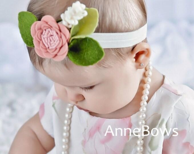 Baby Headband | Infant Headband | Ivory baby headbands | Newborn headbands | Newborn girl | Newborn Gift | Anemone Baby Headband | Felt