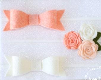 Baby Headband | Infant Headband | Baby Bow | Peach Headband | Ivory | Headband | Hair Bows and Headbands | Infant Headband | Nylon Headband