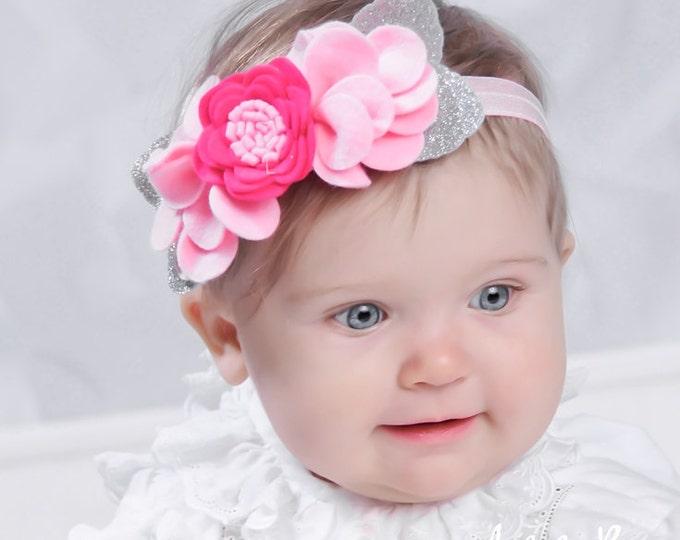 Baby Headband Flower. Baby Headband Crown, Ligt Pink  Felt Headband. Headband Baby Flowers  Felt. Newborn Headband Flower. Lots Package