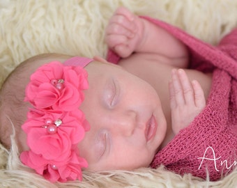 Baby headband. Flower Headband. Flower girl headband. Pink Headband. Chiffon Flower. Baby. Bow