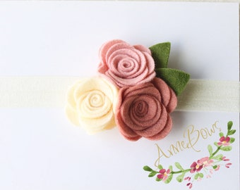 Baby Headbands | Baby Girl Headbands | Nylon | Infant Headband | Baby Headband | Flower felt  | Baby girl Headband | Flower headband