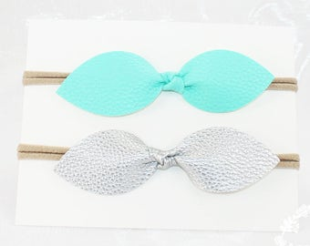 Faux Leather Headband.  Hair Bow. Hair Clip. Bow Headband. Headband. Infant Headband. Bows. . Nylon Headband, Baby  Headband Set. Bows.