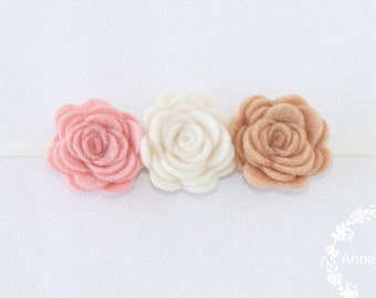 Small Roses Headband Tan