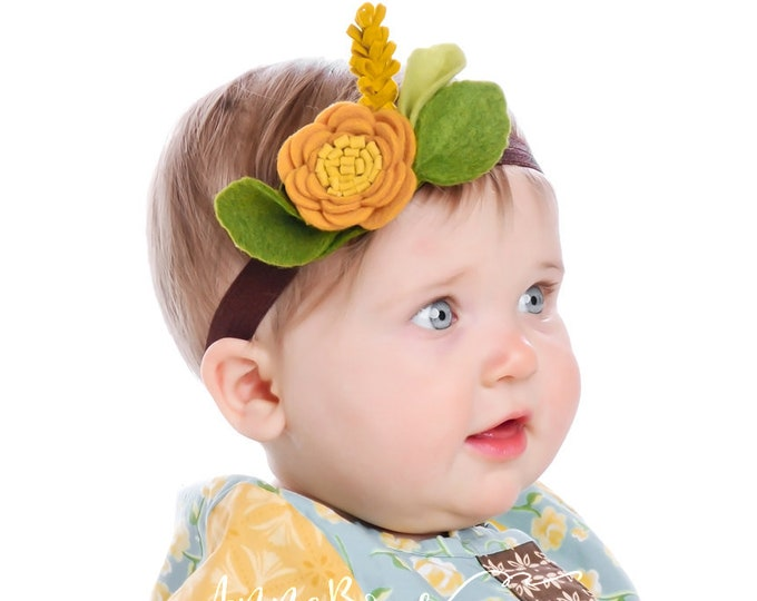 Baby Headband. Baby Headbands felt. Infant Headbands. Newborn Girl Headbands. Crown Flower Headband. Yellow flower headband. Anemone flower