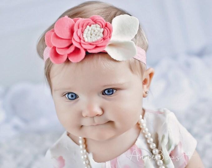 Baby Headband - Flower Felt -  Newborn Headband - Baby Girl - Infant Headband - Baby Headband  Flower Felt  - Coral Flower Baby Headband