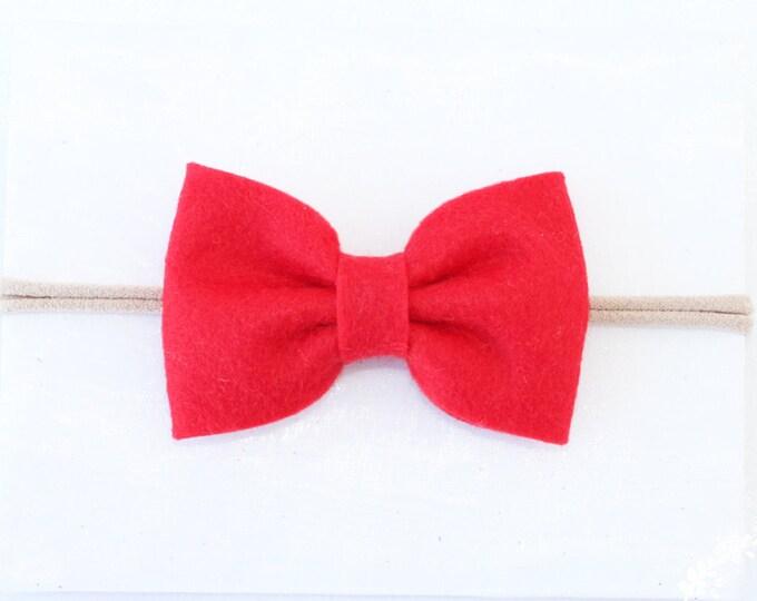 Red Headbands. Nylon headband. Nylon headbands. Christmas headband. Baby headband. Felt bow headband. bow headband. baby bow.