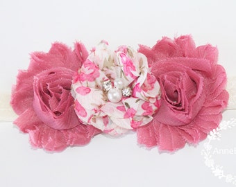 Baby Headbands  Flower. Lace baby Headbands. Headbands. Newborn Girl Headband.  Flower  Baby Girl Headband. Mauve baby headband. Flower girl