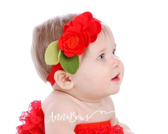 Baby Headband. Infant Headband. Red. Newborn headband. Felt headband. Baby headbands. headbands. Crown flower headband. Felt flower. Rose