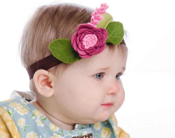 Baby headband. Headbands. Infant headband. Newborn headbands. crown flower headband. Mulberry. Purple. Felt headband. Baby felt headband