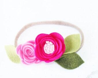 Nylon headband. Baby headband. Headbands. Pink headband. Felt headband. Flower headband. Crown flower headband. Nylon baby headband. Baby