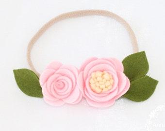 Felt Headband. Baby headband. Nylon headbands. Infant headband. Crown flower headband. flower headband. roses headband. Pink Flower