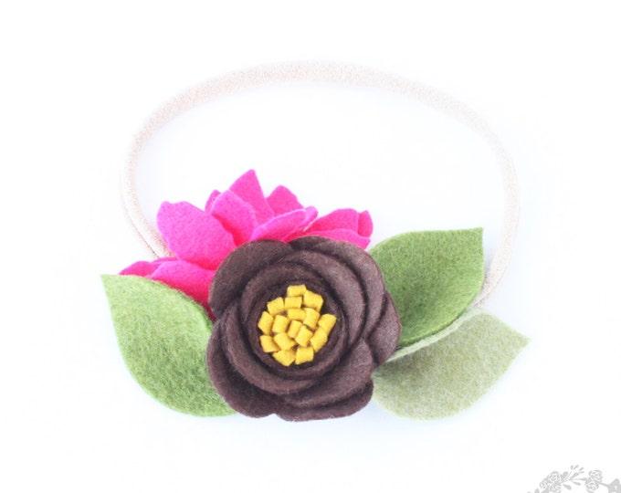 Brown Headband. Nylon Headband. Baby Headbads. Infant headbands. Headband. Nylon . Flower Nylon Headband. Crown baby headbands. felt flower