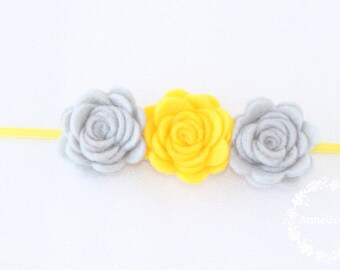 Baby Headbands. Baby Headbands Flower. Baby Headbands Felt . Headbands. Trio Roses Baby Headband. Newborn girl headband. Yellow Headband