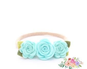 Baby Headband. Aqua Headband. Flower Headband. Aqua Flower. Nylon Headband. Felt Headband. Nylon. Headband