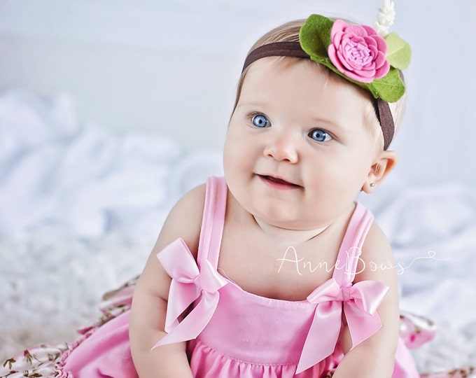 Baby Headbands. Baby Headband Flowers Felt. English Rose Felt Baby Headband. Baby Headband Flower Felt. Newborn Girl Headbands. Wool
