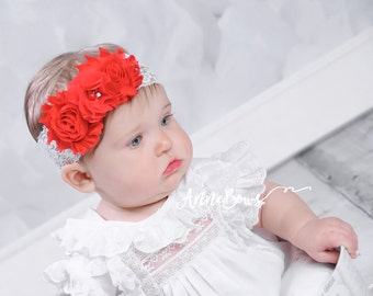 Red Headband.  Chiffon Flower. Infant Headband. Baby Headbands, Headbands Set, Package Lots Headbands,