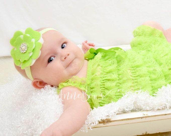 Baby Headband Green, Baby Headbands, Baby Girl Headband, Green Flower Baby Headband - Baby Headband Felt - Felt Flower Headband