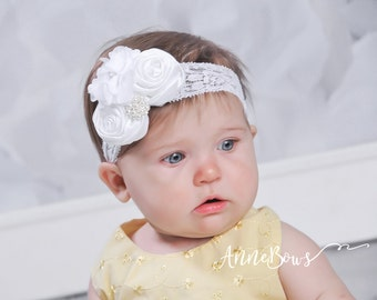 Baby Headbands. Flower Headbands. Flower Satin Headbands. Baptism Headbands