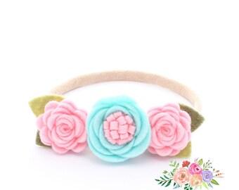 Aqua Headband. Nylon Headbands. Flower Headbands. Pink Headbands. Baby Pink. Baby. Infant Headbands. Crown Baby Headband. Felt Headband.