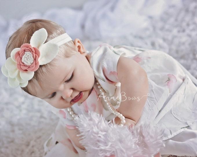 Baby Headband. Infant Headband. Infant Flower Headband. Headband. Flower Crown Headband. Crown Headbands. Blushing Bride. Felt Headbands