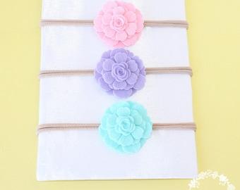 small flower headband, flower felt for baby headband,  flower hair accessories, infant headbands, baby headband, nylon headband, set