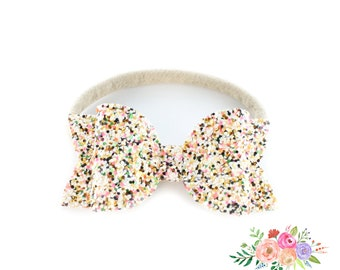 Glitter Bow Headband Orange
