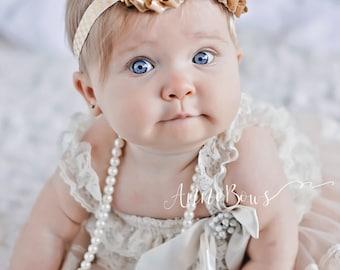 Baby Headband | Gold Headband | Glitter Headband | Infant Headband | Sparkle Headband | Baby | Gold | Flower Headband | Shabby Chic Flower