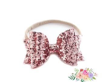Glitter Bow Headbands, Glitter Headband, Baby Headband, Nylon Headband, Mauve, Infant Headbands