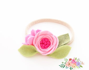 Nylon Headband. Baby Bow. baby headband. newborn headband. infant headband. Flower Headband. headband. nylon. felt headband. bow felt set