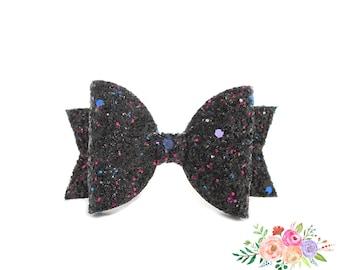 Glitter Headband, Baby Girl Headband, Newborn Headband, Nylon Headband, Nylon,  Black Bow