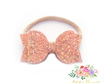 Glitter Light Pink Mix Bow Headband