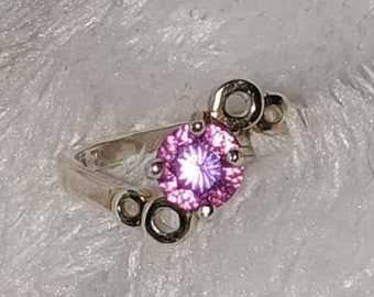 Super Clearance Sale Petite Pink Purple Round SS Gemstone Ring Size 6 1/2 Everything Must Go Blowout Deals