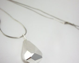 KRYSTALL faceted 925 silver pendant on wheat chain