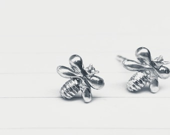 Tiny Bees silver post earrings 8mm