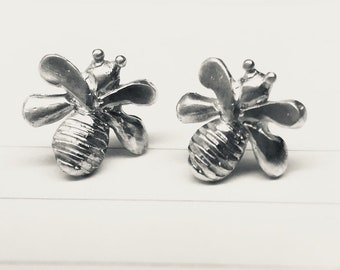 Tiny Bees silver post earrings 10mm