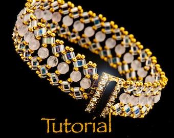 Beadwoven Bracelet Tutorial Luna with seed beads, Half-Tilas, and Gemstones - Instant Digital Download