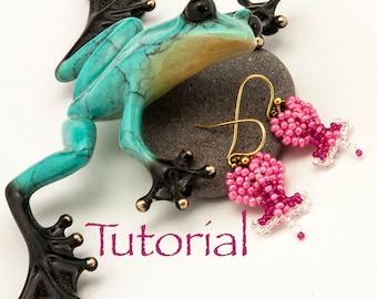 "Seed Bead Earrings Tutorial Bleeding Heart (less than 1"" long!) Digital Download"