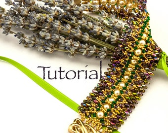 Seed Bead-Woven Bracelet Tutorial Provence with SuperDuos, Crystals and Pearls Digital Download