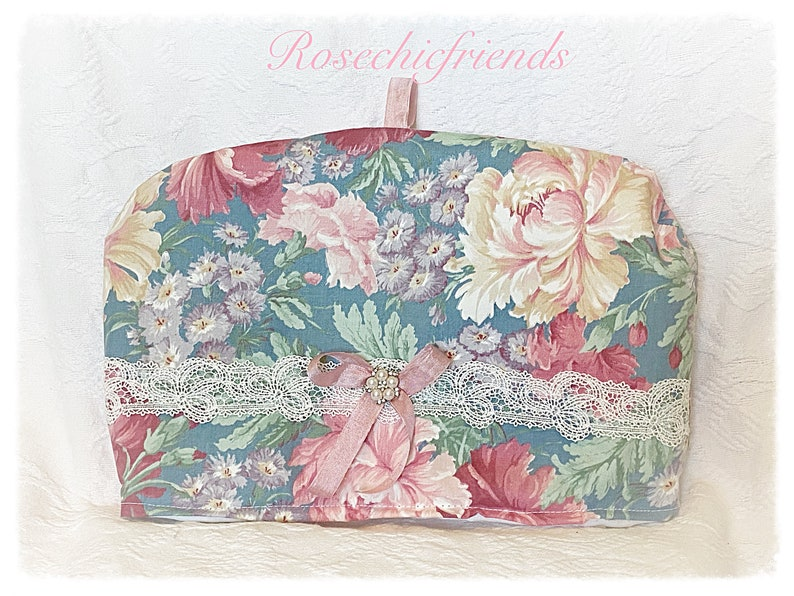 TEA Cozy Cozies Shabby Blue Cabbage Rose Fabric Pink Roses image 0