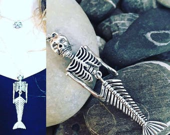 Articulated charm mermaid skeleton necklace