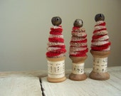 Candy Cane Christmas Trees With Vintage Thread Spools - Set of 3
