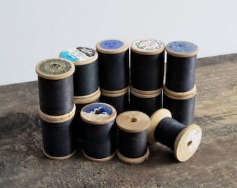 Vintage Black Thread Wood Spools