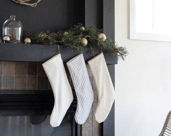 Linen Blend Minimalist Striped Christmas Stocking