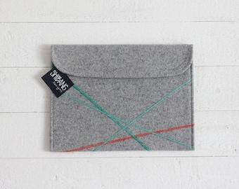 Geometric iPad Sleeve - Emerald & Tangerine